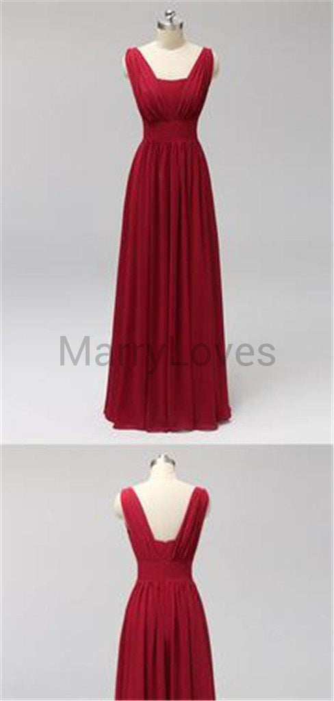 A-Line Chiffon Straps Slim Long Bridesmaid Dresses, EBD0002