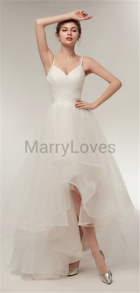 Spaghetti Pleats Tulle Lace-up Back Cocktail Wedding Dresses Short Front Long Back, EWD0003