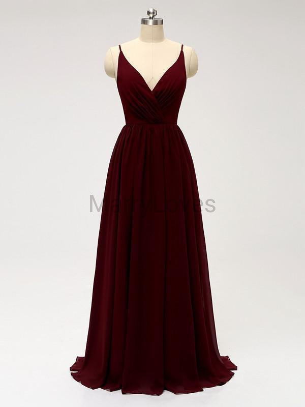 A-line Straps V-neck Chiffon Appliques Back Burgundy Bridesmaid Dresses, CBD0002