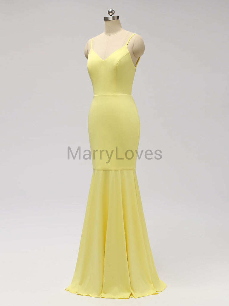 Simple Yellow Spaghetti Straps Long Mermaid Bridesmaid Dresses, FBD0006