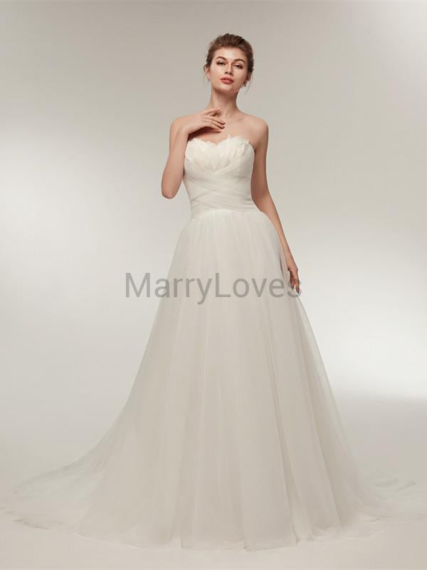 Scalloped Strapless Tulle Lace-up Back Pleats Wedding Dresses With Trailing, EWD0001