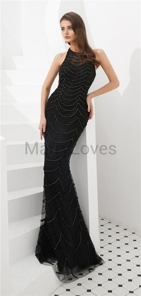 Mermaid Halter Sleeveless Black See-though Beading Long Prom Dresses, CPD0032