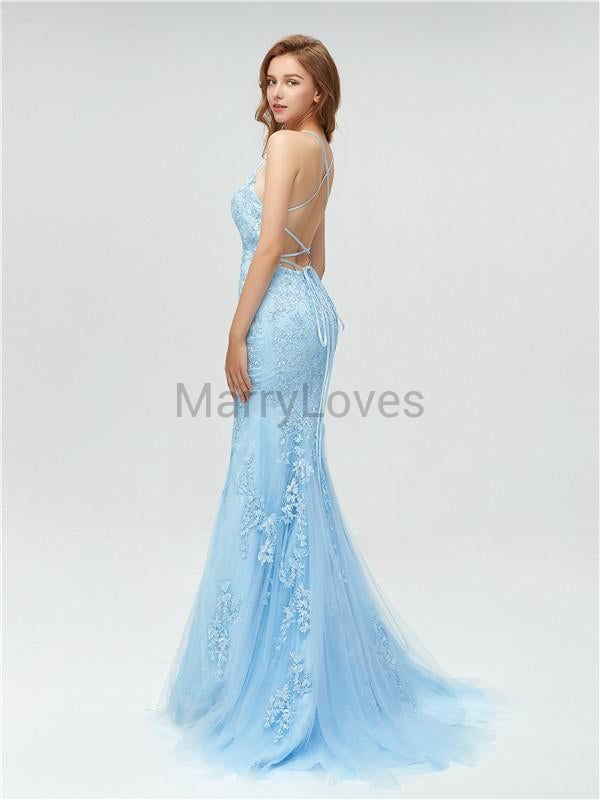 Mermaid Spaghettie Straps Lace-up Back Long Blue Prom Dresses, CPD0014