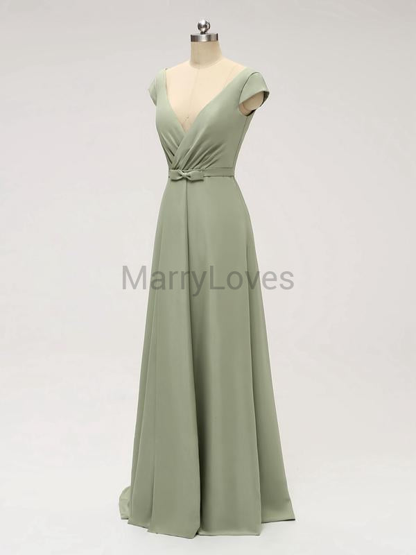 A-line V-neck Cap-sleeves Split Simple Bridesmaid Dresses With Bow, CBD0003