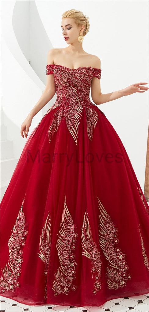 Red Off-shoulder Appliqued Tulle Wedding Dresses with Lace-up Back, Traditional Ball Gown, EWD0008