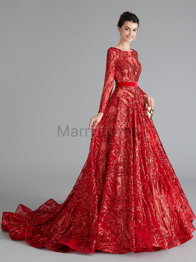 A-line Long-sleeve Gorgeous Sequin Lace-up Illusion Charming Prom Dresses, Red Auspicious Prom Gown, EPD0015