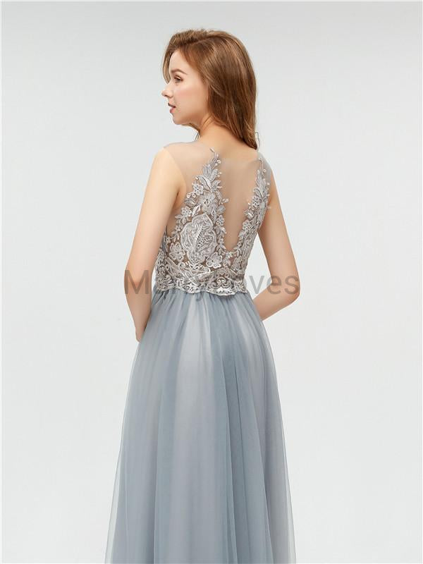 A-line Floor-length Appliques See-though Long Tulle Prom Dresses, CPD0016