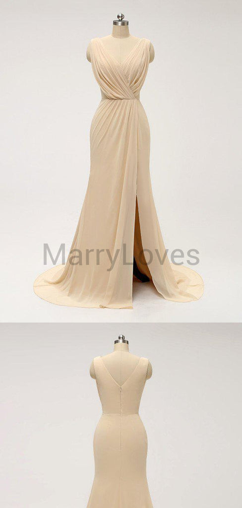 A-line Sleeveless Simple Cheap Bridesmaid Dresses With Pleats, CBD0004