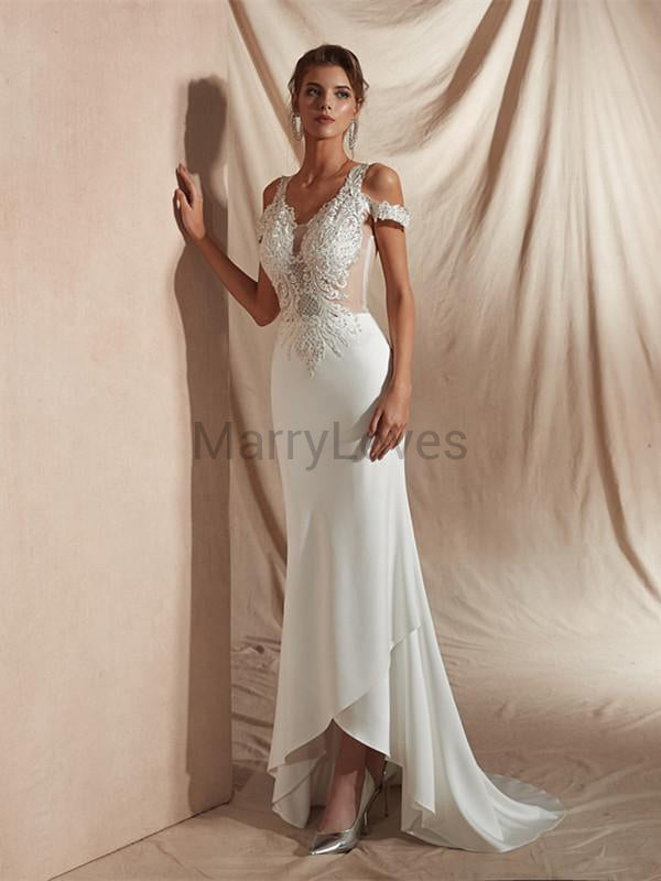 Sheath Off-shoulder See-though Appliques Wedding Dresses With Beading, CWD0003