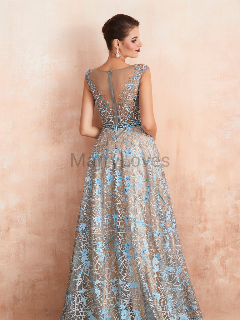 Vintage A-line Yarn Illusion Beaded Zipper Closure Long Charming Prom Dresses, Gorgeous Elegant Prom Gown, EPD0011