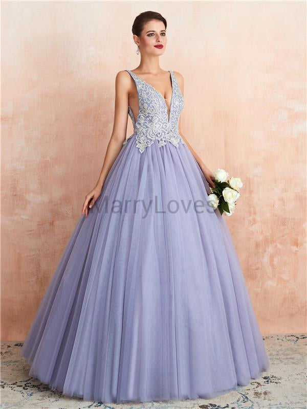 A-line Deep V-neck Sleeveless Appliques and Beading Long Tulle Prom Dresses, CPD0036