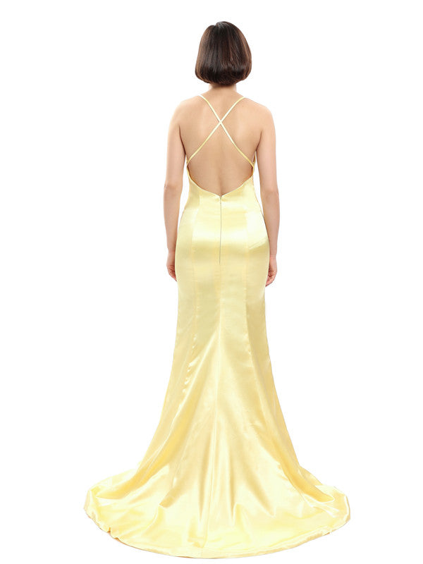 Spaghetti Straps V-neck Backless Bridesmaid Dresses