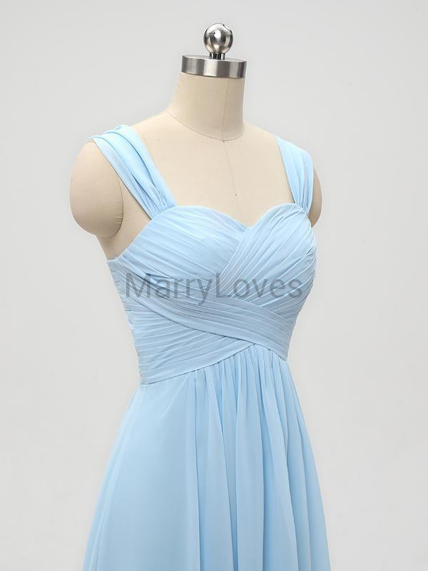 New Arrival A-Line Sweetheart Two Straps Chiffon Long Bridesmaid Dresses With Pleats,YBD0002