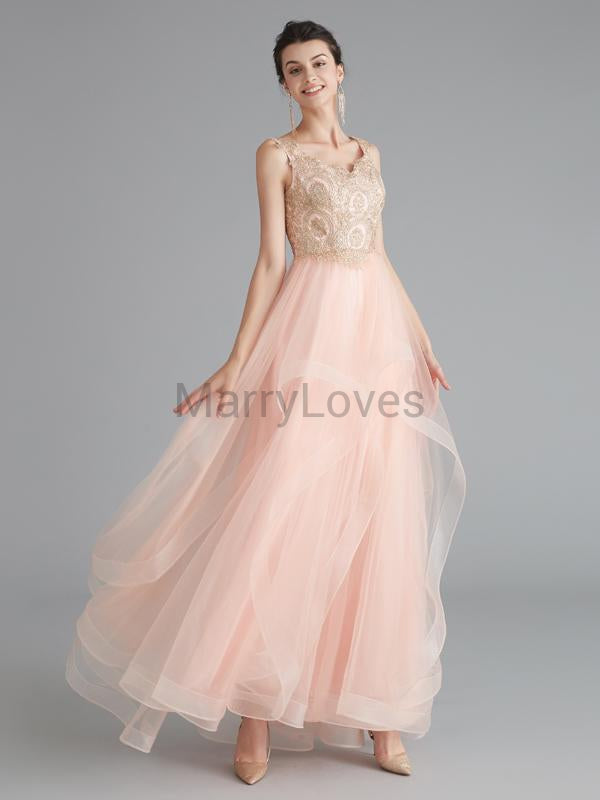 A-Line V-Neck Sleeveless Ankle Length Custom Wedding Bridal Dresses With Beading,YWD0010