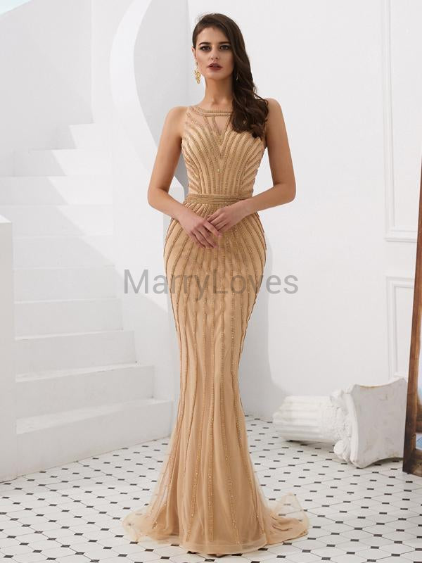 Beading Shiny Illusion Mermaid Prom Dresses, FPD0005