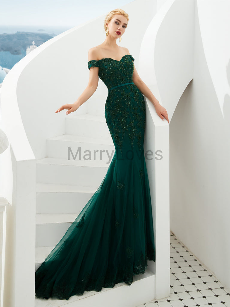 Beaded Appliqued Off-shoulder Zipper Closure Tulle Mermaid Green Long Charming Prom Dresses, EPD0010