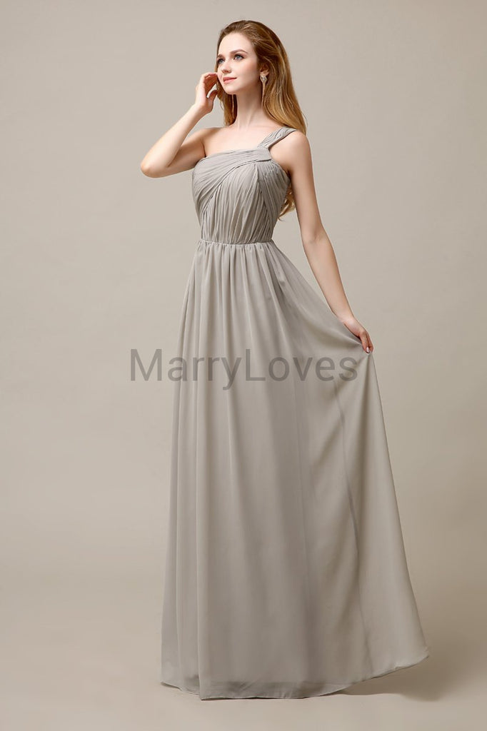 A-line One Shoulder Pleats Bridesmaid Dresses