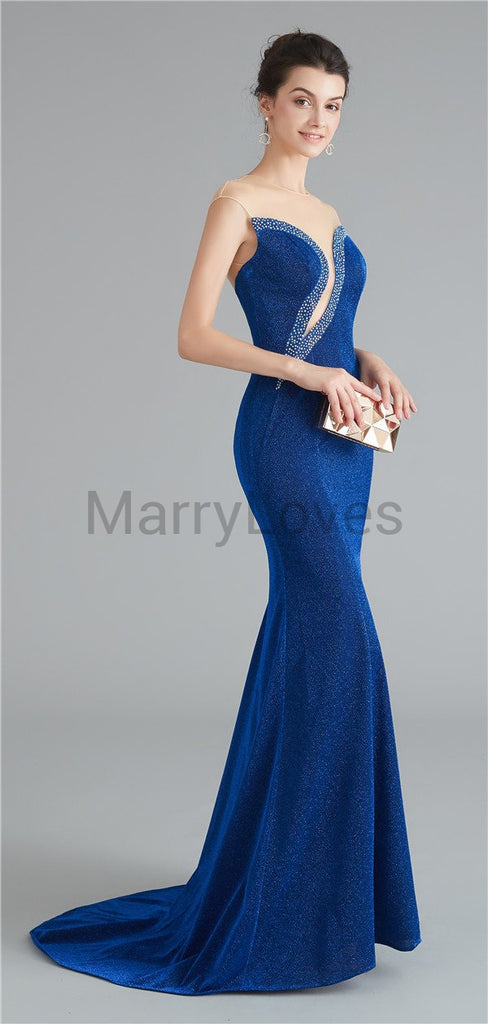 A-line Gorgeous Rhinestone Illusion Yarn Royal Blue Charming Prom Dresses, Open-back Mermaid Prom Gown, EPD0016