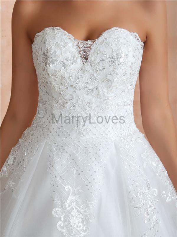 New Arrive Sweetheart Strapless Lace Gergeous Wedding Dresses With Train, CWD0006