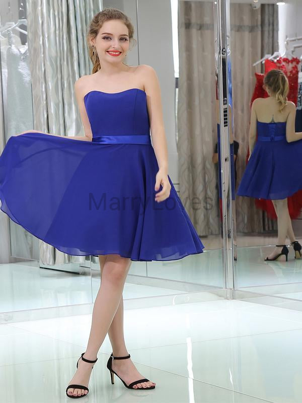 Simple Royal Blue Strapless Lace Up Short A-Line Chiffon Homecoming Dresses, FHD0002