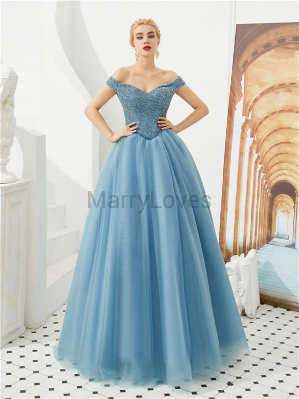 A-line Floor-length Beading Top Lace-up Back Long Tulle Prom Dresses, CPD0043