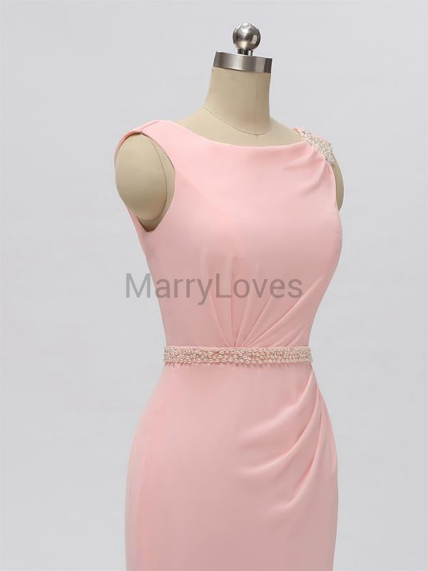 Lovely Pink Square Neckline Mermaid Bridesmaid Dresses, FBD0008