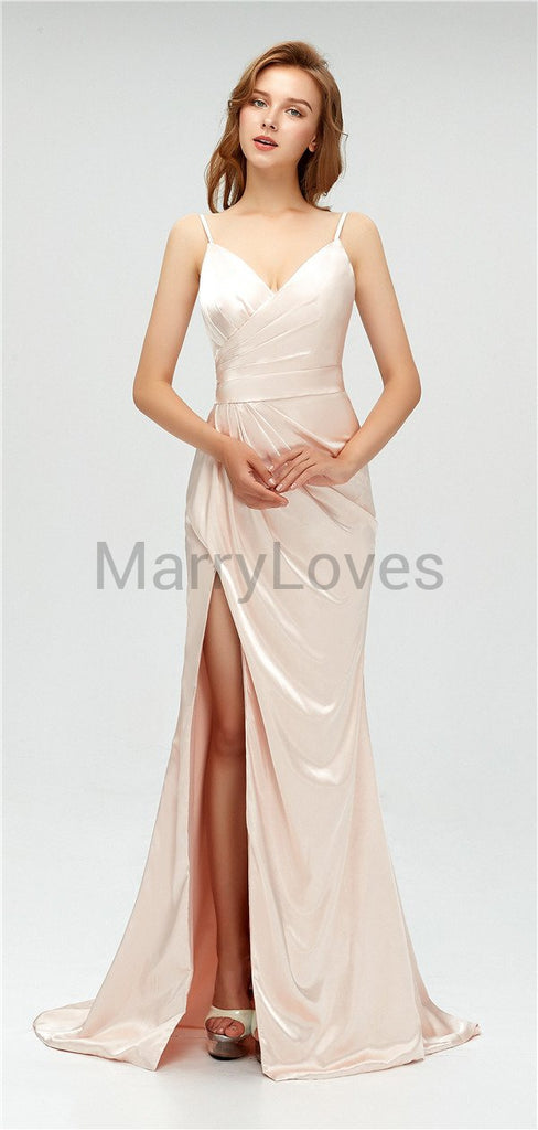 Spaghetti Straps V-neck Simple Pleats Bridesmaid Dresses With Split, CBD0008