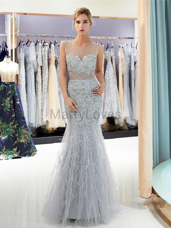 Silver Sleeveless Mermaid Beading Prom Dresses, FPD0033