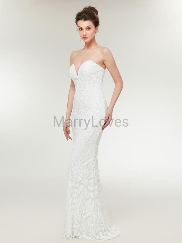 Elegant Mermaid Sweetheart Sleeveless White Floor Length Prom Dresses With Sequins,YPD0018