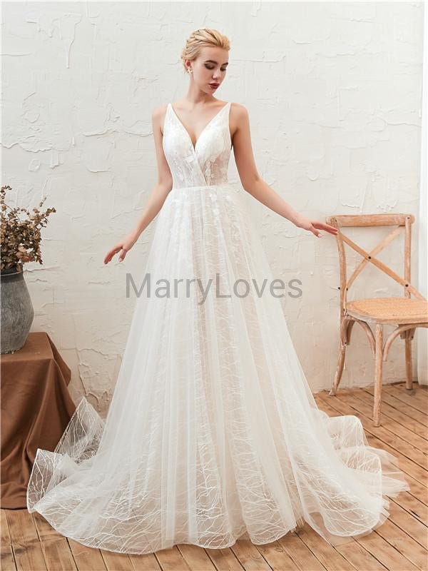 A-line V-neck See-though Lace-up Back Long Lace Tulle Wedding Dresses, CWD0008