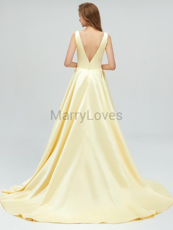 Simple V-Neck Baby Yellow Prom Dresses, FPD0009