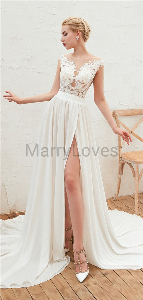 Popular A-line See-though Cap Sleeves Lace Top Wedding Dresses With Split, CWD0007