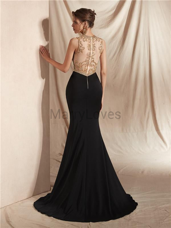 Mermaid Round Neck Sleeveless See-though Beading Prom Dresses With Split, CPD0008