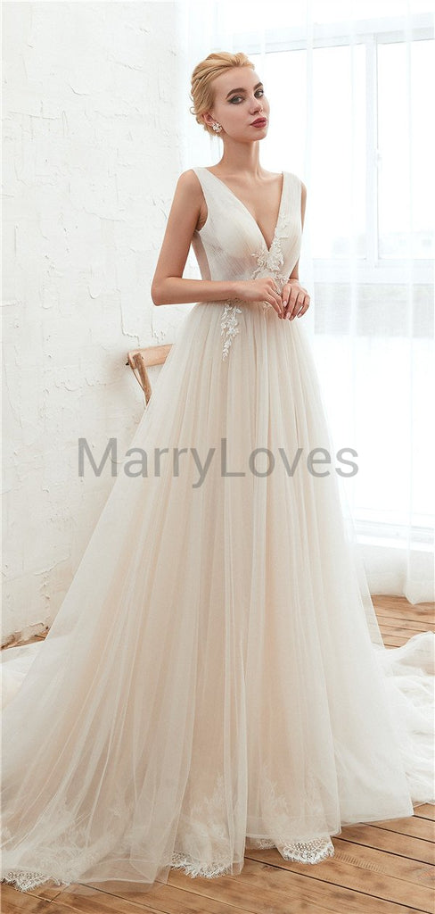 A-line V-neck See-though Appliques Long Lace Tulle Wedding Dresses With Train, CWD0009
