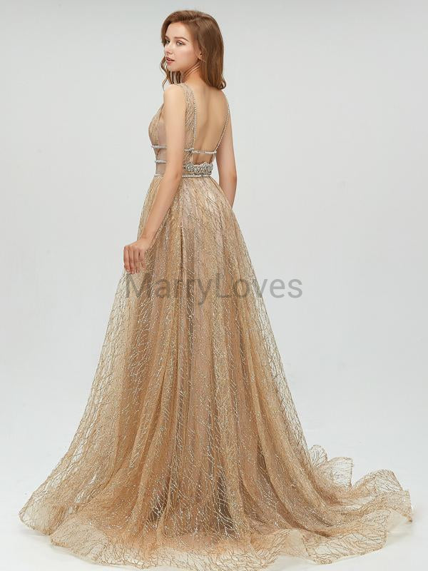 Popular Shinny V-Neck Long A-Line Prom Dresses With Trailing, FPD0006