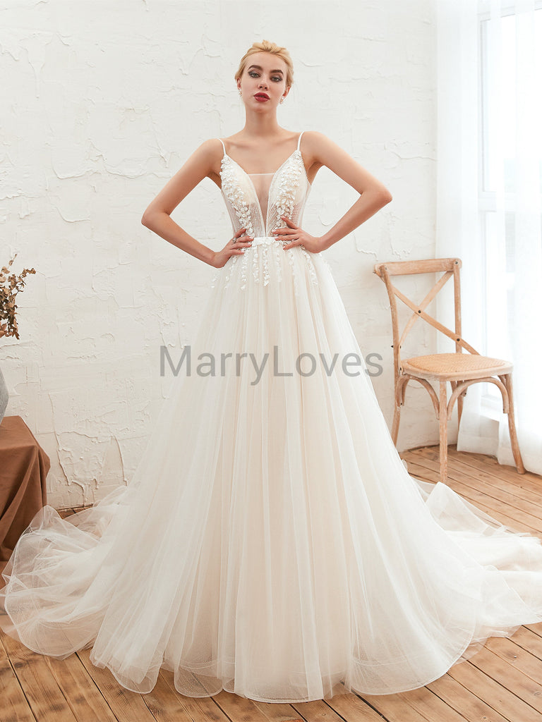 A-line See-through V-neck Lace Top Organza Wedding Dresses with Lace-up Open Back, Wedding Dress with Trailing, EWD0010