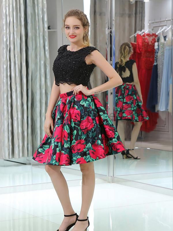 Unique Two Pieces Lace Top With Beaded Flower Printed Homecoming Dresses, FHD0003