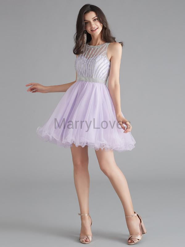 Charming Lavender Beading Illusion Short A-Line Tulle Homecoming Dresses, FHD0005