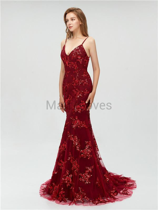 Mermaid V-neck Burdundy Sexy Sequins Long Backless Prom Dresses, CPD0028