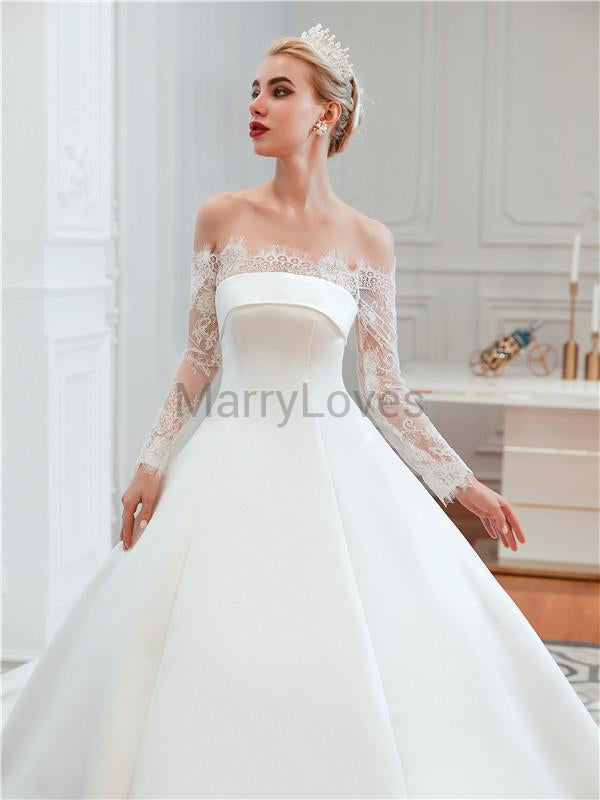 Newest Off-shoulder Long Lace Sleeves Gergeous Ball Gown, Wedding Dresses, CWD0005