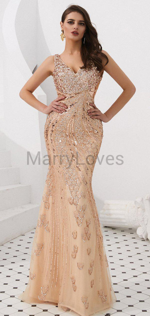 Alluring Beading V-Neck Mermaid Prom Dresses, FPD0003