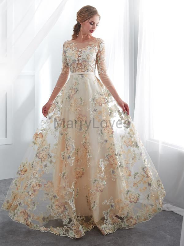 A-Line Round Neck 3/4 Sleeves Long Prom Dresses With Appliques,YPD0029