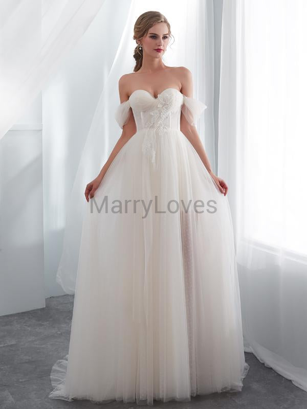 Exquisite A-Line Off Shoulder Tulle Affordable Long Wedding Dresses With Lace,YWD0003