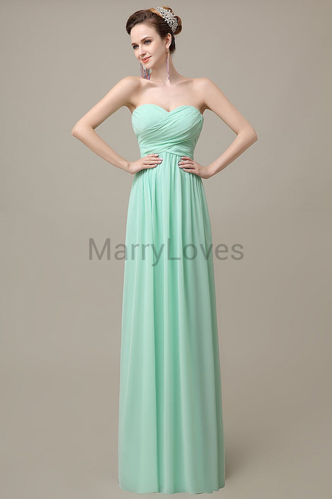 Sweetheart Chiffon Long Bridesmaid Dresses