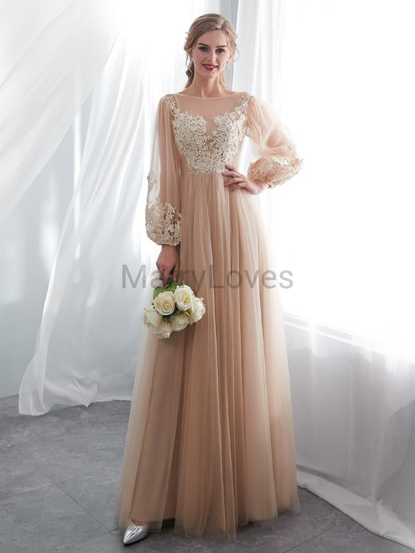 A-Line Round Neck Long Sleeves Tulle Floor Length Prom Dresses With Lace,YPD0033