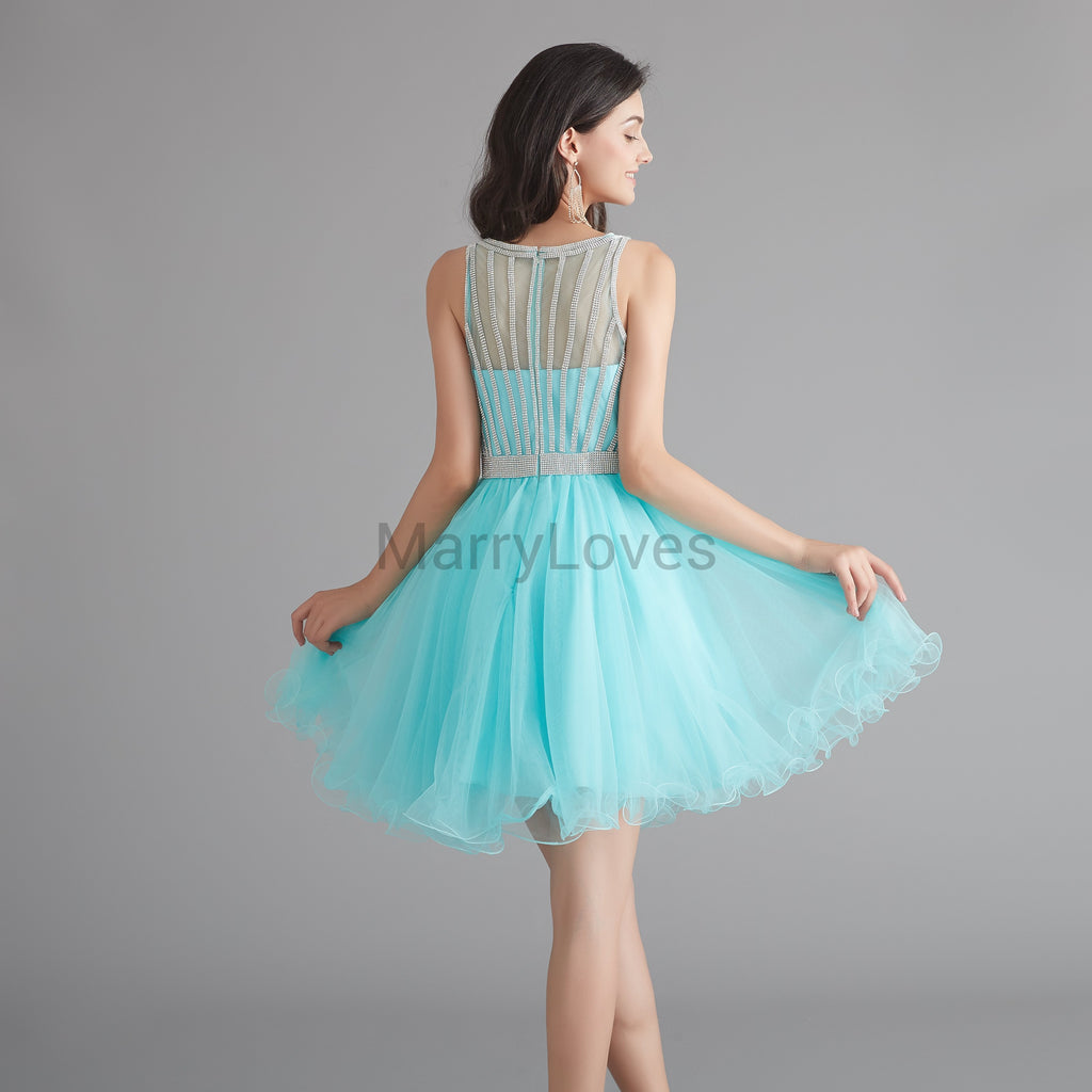 Charming Illusion With Beaded Short Mint Green Organza A-Line Tulle Homecoming Dresses, SHD0006