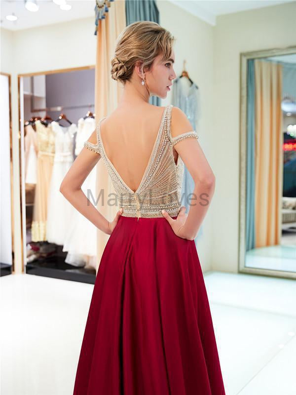 Newest A-line V-neck Beading Satin Long Prom Dresses, CPD0001