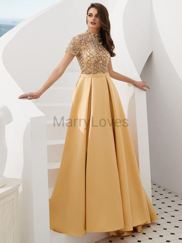 Shinny Top Beading Short Sleeve A-Line Satin Prom Dresses, FPD0017