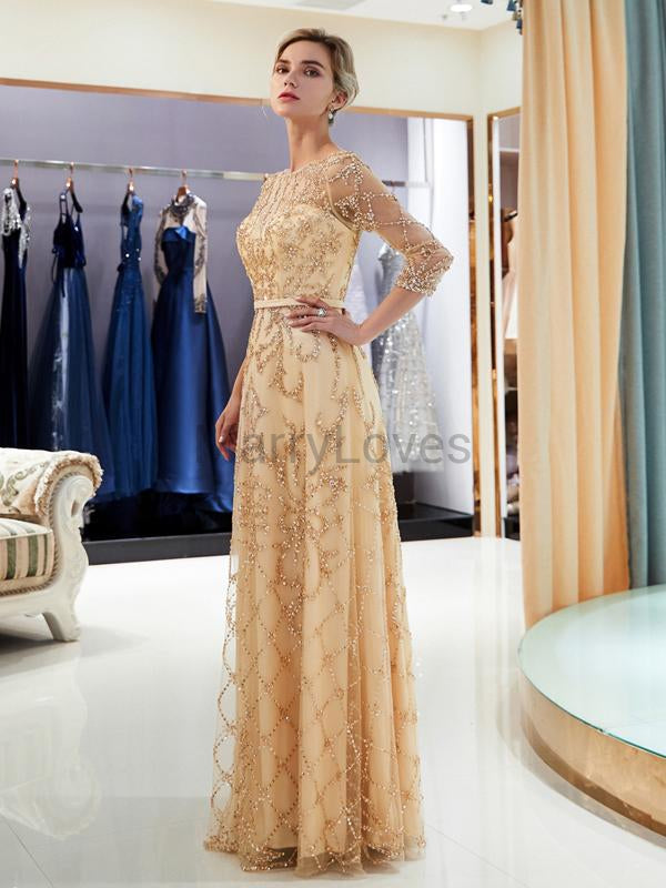 Shiny Illusion 3/4 Sleeves With Beaded Long A-Line Prom Dresses, FPD0037