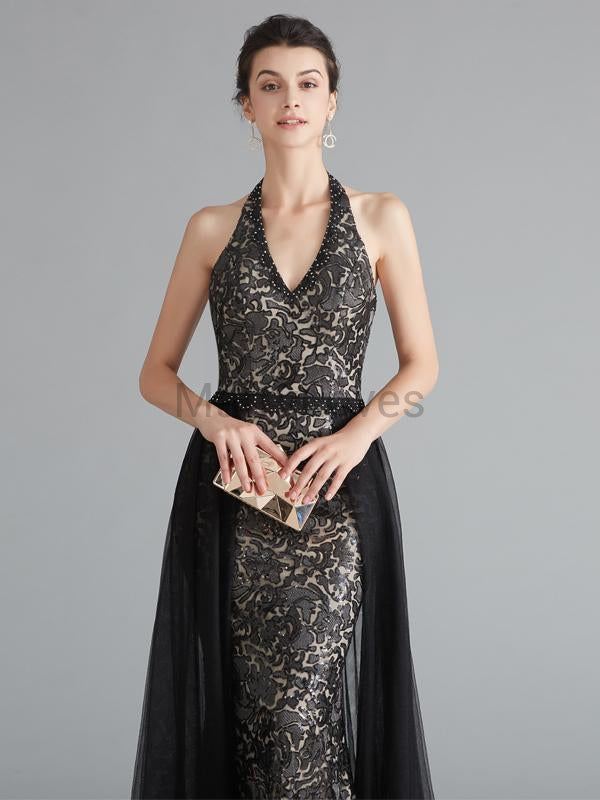 Sexy Halter Lace Mermaid Prom Dresses With Beaded, FPD0044